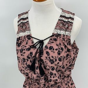 indulge Dresses - Indulge in Style Light Weight Mauve Floral Dress L